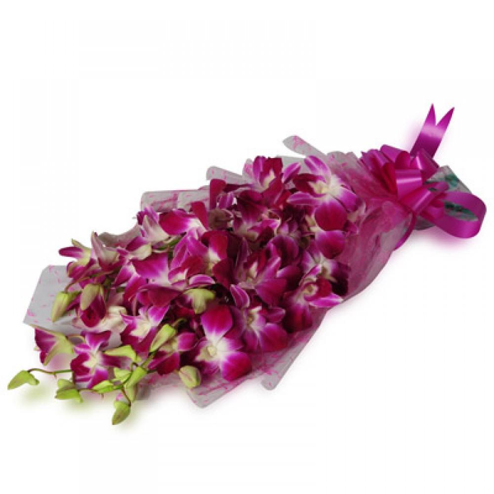 10 Purple Orchids Bunch