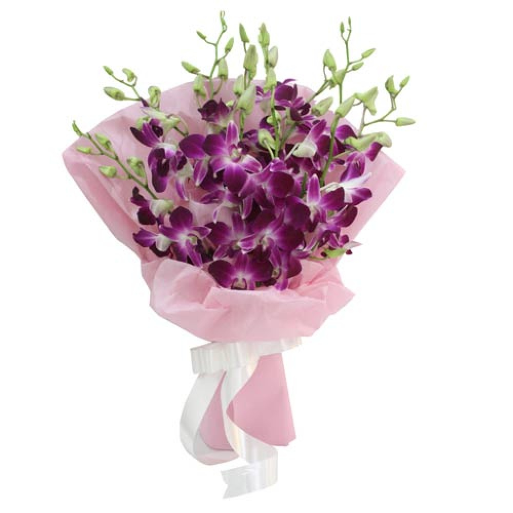 Simply Beautiful Orchids Bunch Of 9 Purple Orchids Paper Packing
