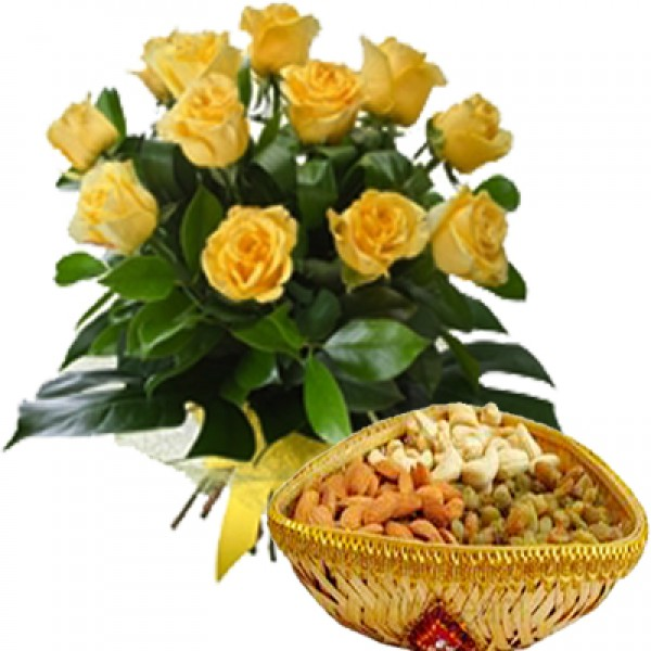 Yellow Roses Dryfruits Delight