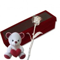 6 Inch Silver Roses with Teddy (Free Shipping)