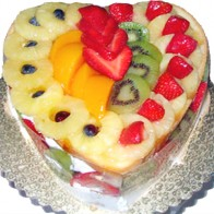 Heart Shape Fresh Fruit Cake
