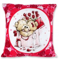 Beauty Cuddling Teddy Square Cushion