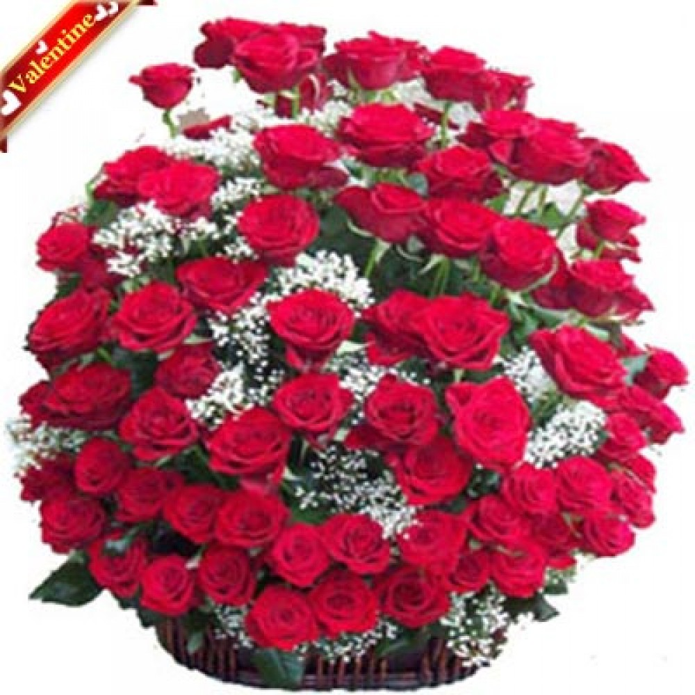 Valentine 100 Red Roses Basket Valentine Flowers Delivery In India
