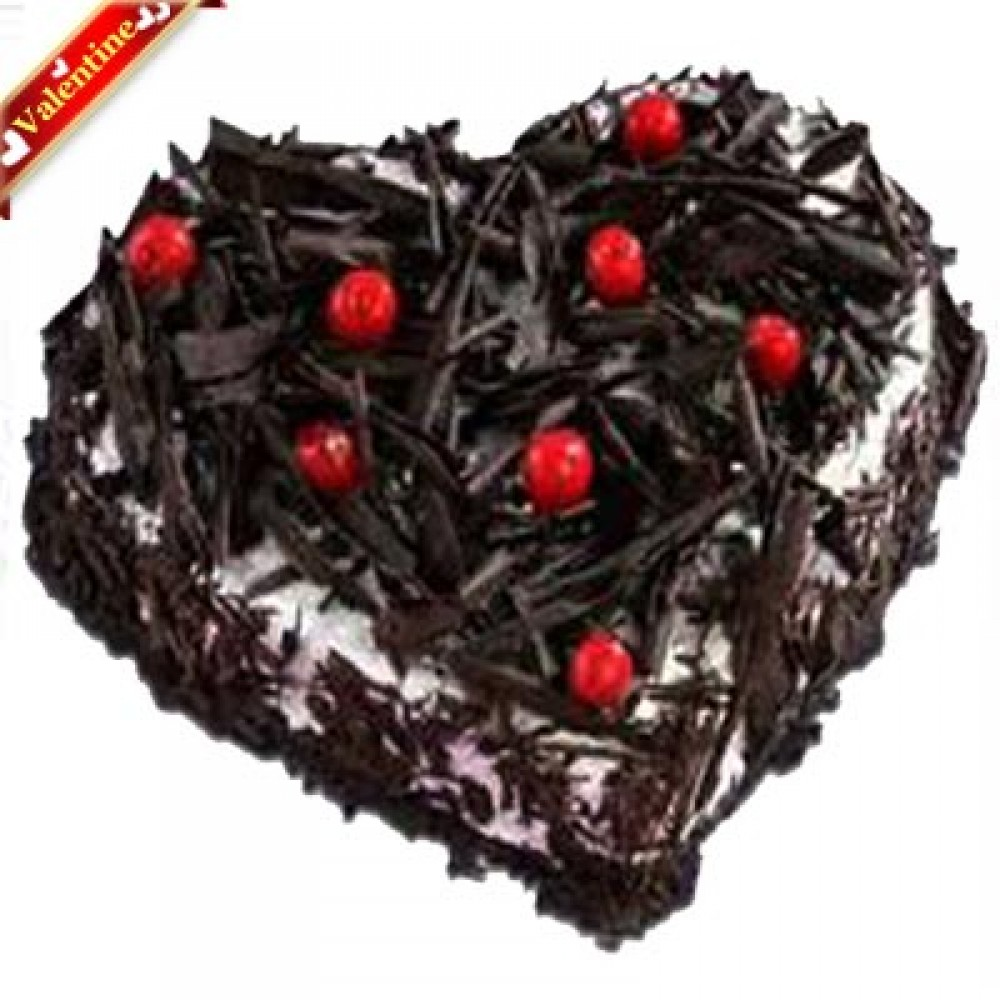 Valentine Heart Shape Blackforest Cake 1Kg.