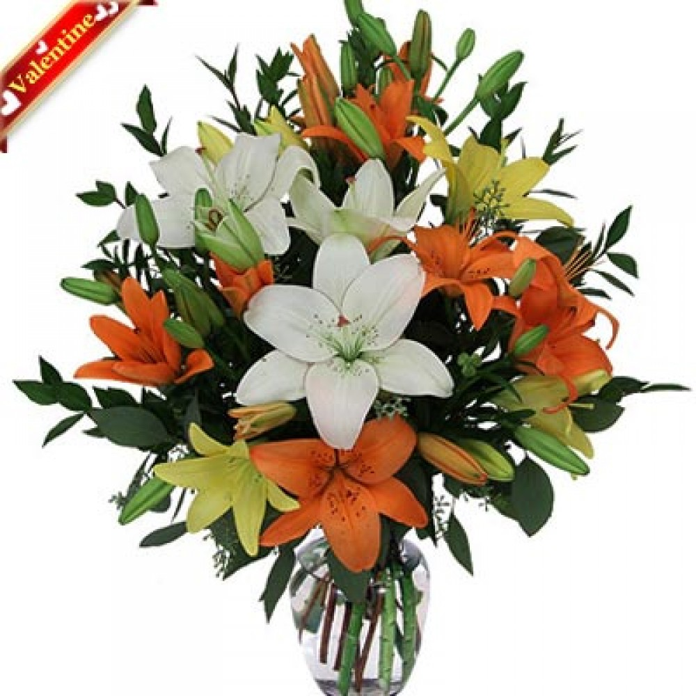 Valentine Lily In Vase Valentine Flowers Delivery In India Yoflorist