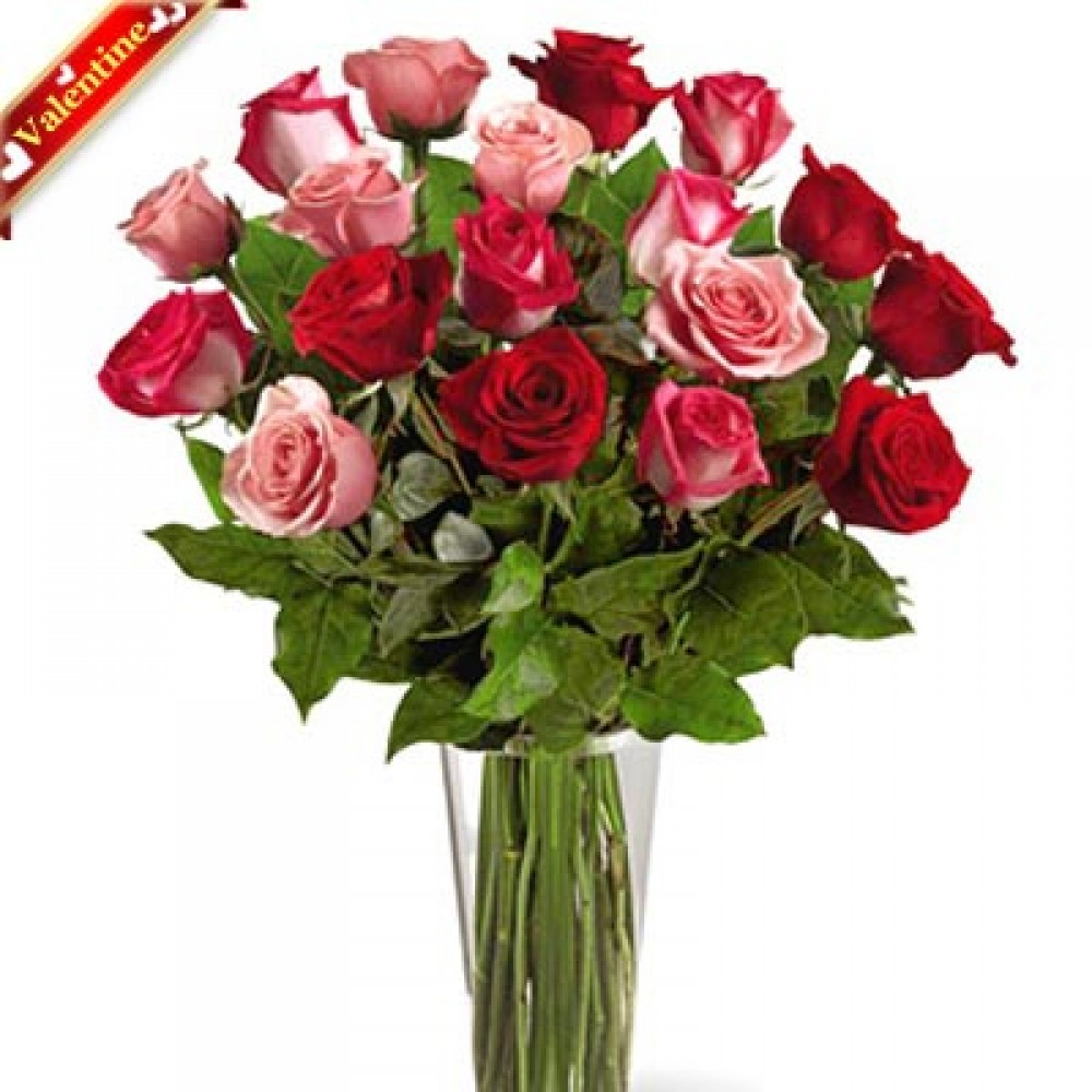 Valentine Love Roses in Vase