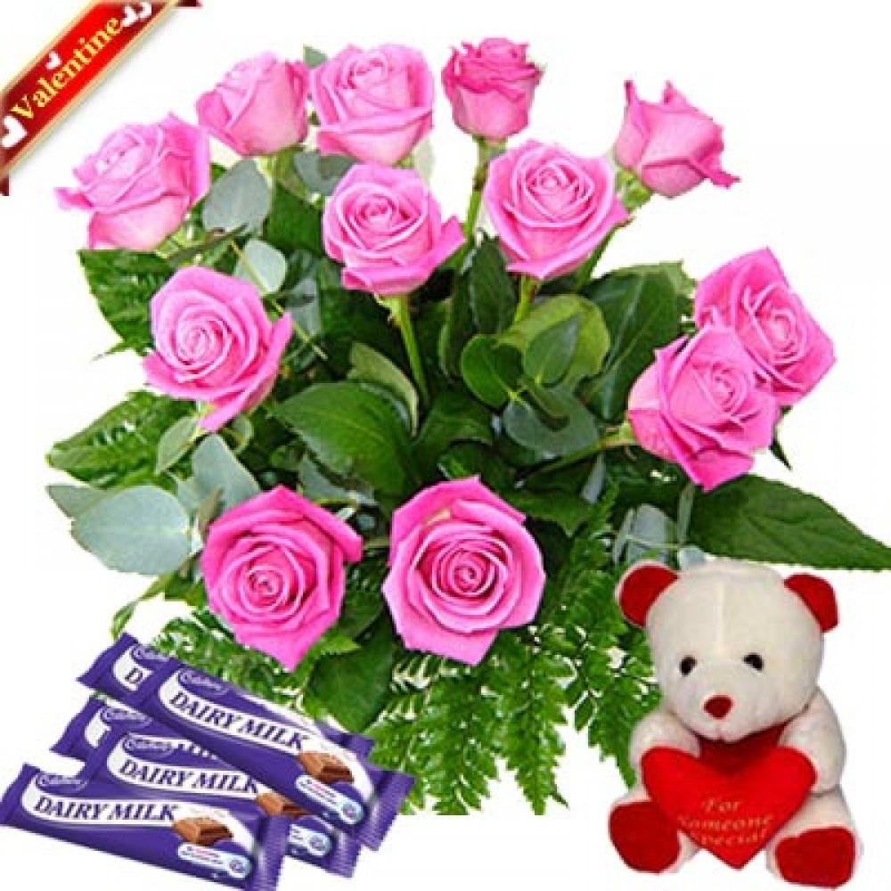 Valentine Pink Roses Love Treat