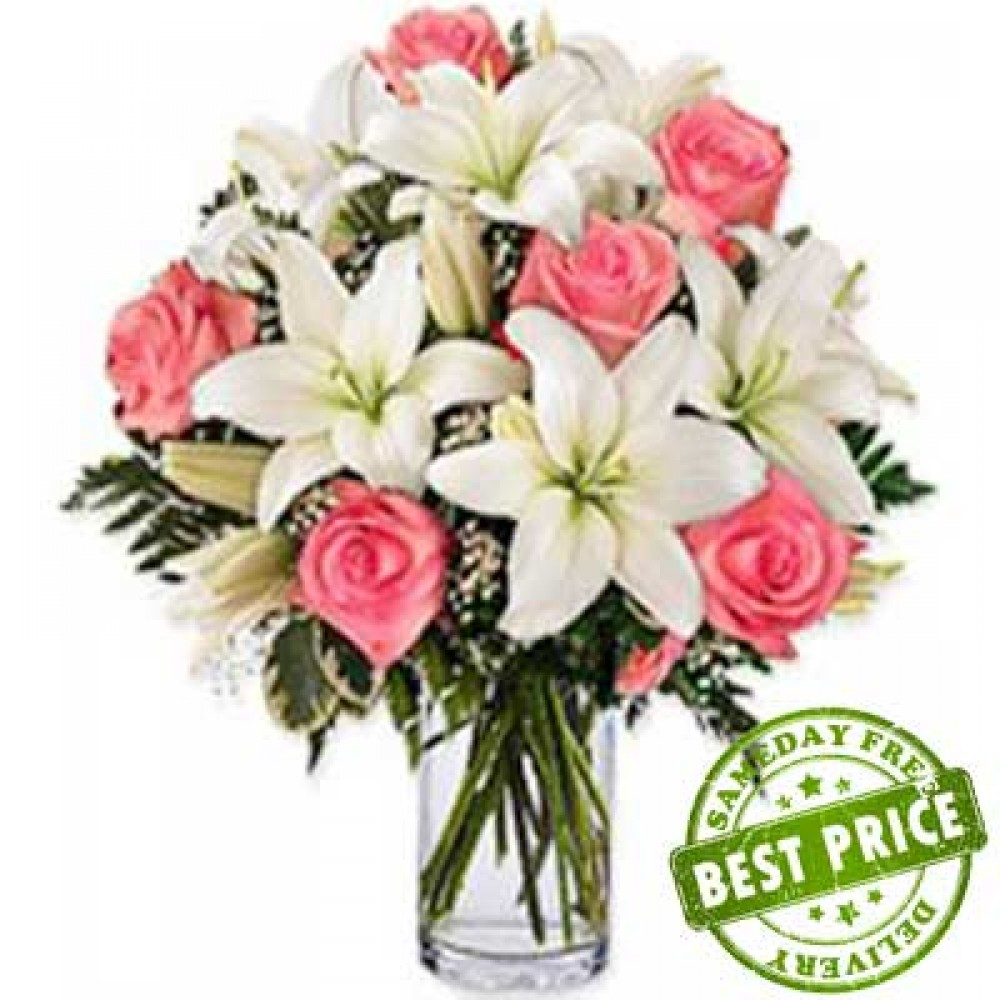 Lily Roses In Vase Arrangement Of 5 Asiatic White Lilies 10