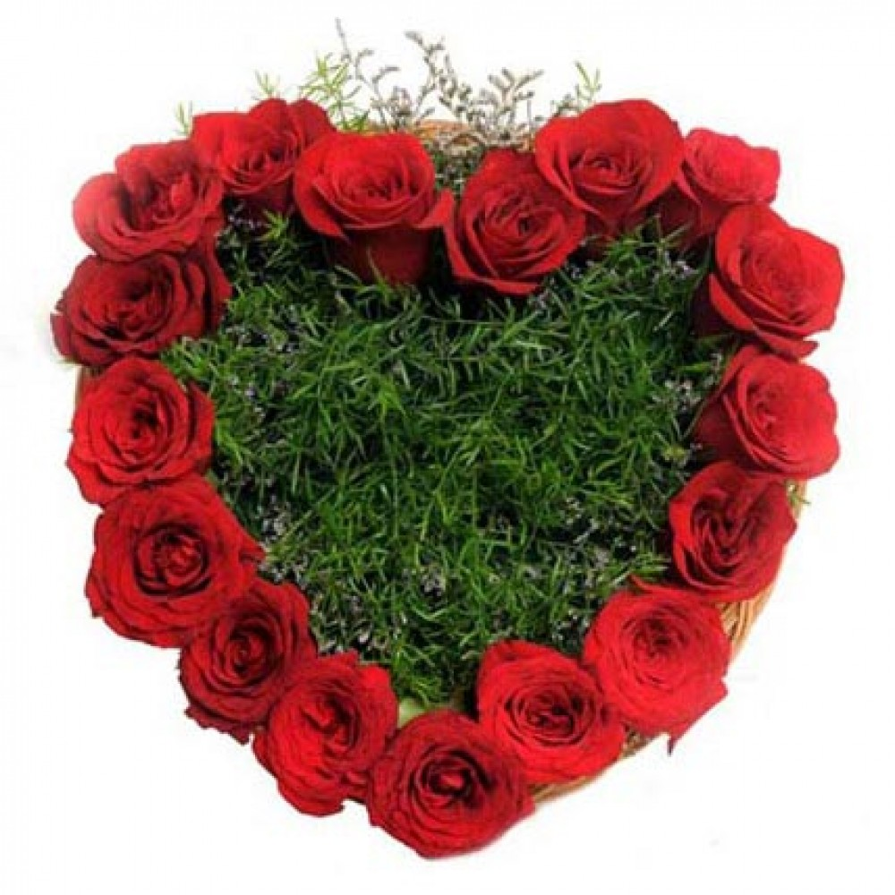 20 Red Roses in Heart